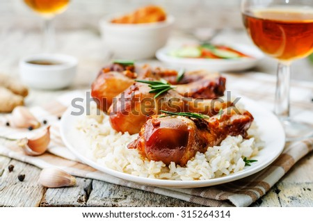 roasted honey soy garlic ginger chicken. the toning. selective focus - stock photo