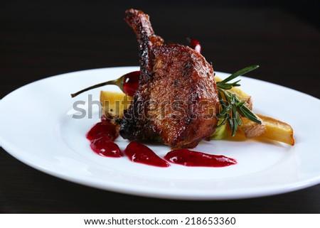 Roasted lamb chops - stock photo