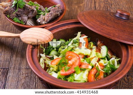 Roasted meat and vegetables - stock photo