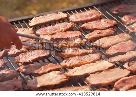 Roasted meat on the grill, parrilla, asado