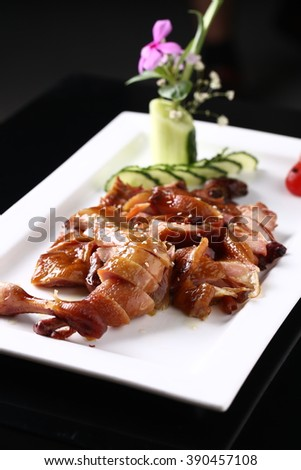 Roasted meat served on a plate - stock photo