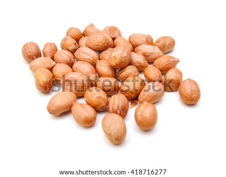 roasted peanuts isolated on white background