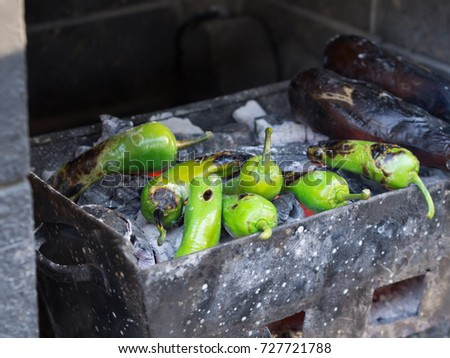 roasted pepper on barbecue