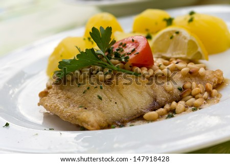 roasted pikeperch fillet with boiled potatoes  - stock photo