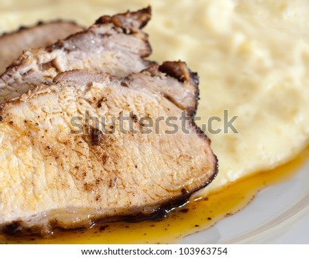 Roasted Pork Loin with balsamic marinade and potato pur�©e