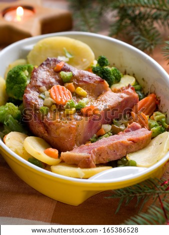 Roasted pork with vegetable, selective focus