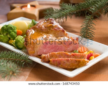 Roasted pork with vegetable, selective focus  - stock photo