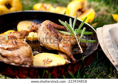 Roasted quails with quince fried in a pan outdoor - stock photo