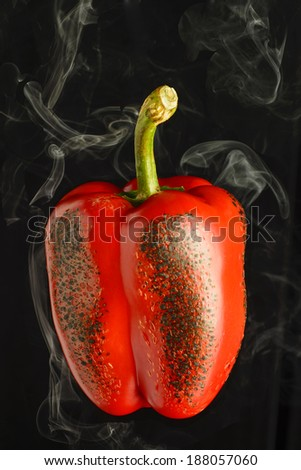 Roasted Red Pepper on black background - stock photo