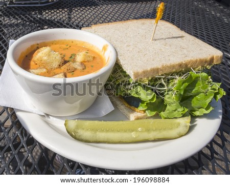 Roasted Red Pepper Soup and Sprout Sandwich - stock photo