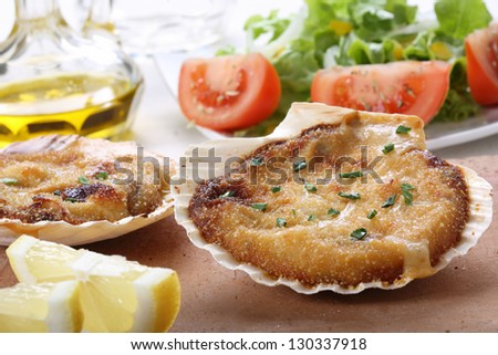 roasted scallops with salad - stock photo
