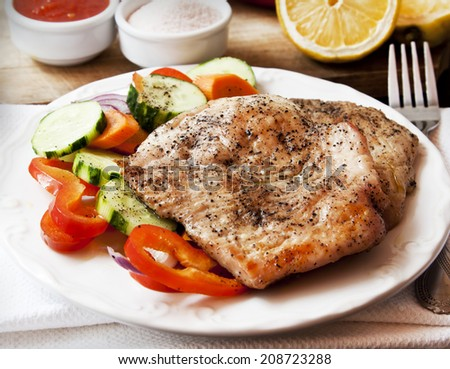 Roasted Spicy Turkey Breast with Vegetables Garnish - stock photo