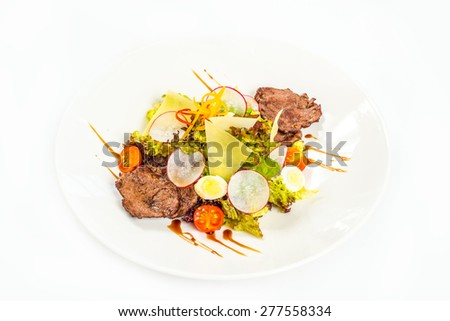 roasted steak with potato, vegetableand cheese - stock photo