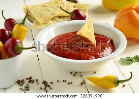 Roasted sweet pepper sauce with pita bread, dip - stock photo