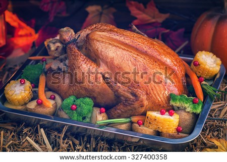 Roasted Thanksgiving Turkey with Side Dishes  - stock photo