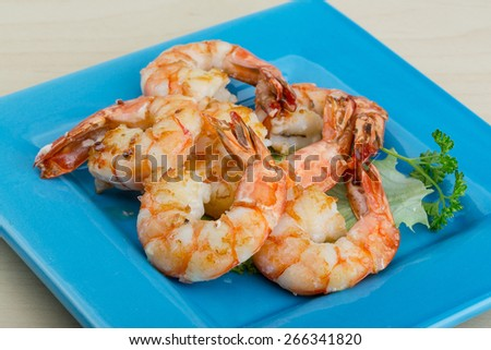 Roasted Tiger shrimps cocktail with herbs and spices - stock photo