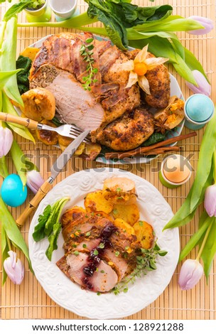 roasted turkey - stock photo