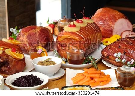 christmas ham dinner table - photo #22