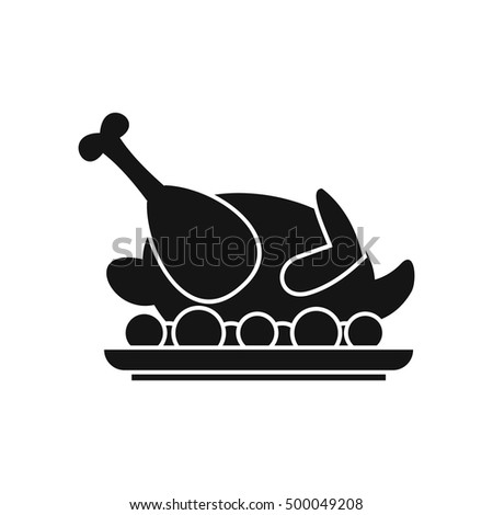 Roasted turkey icon in simple style on a white background  illustration