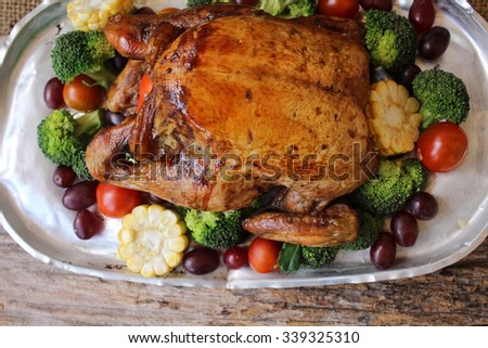 Roasted turkey with vegetables for thanksgiving day
