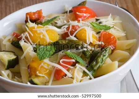 Roasted vegetables with pasta penne