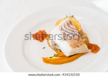 roasted white fish - stock photo