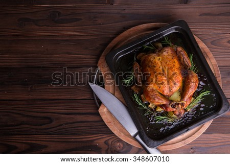 Roasted whole chicken / turkey for celebration and holiday. Christmas, thanksgiving, new year's eve dinner - stock photo