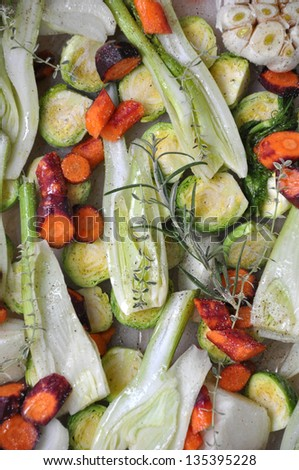 Roasted winter vegetables - stock photo