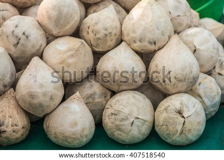 Roasted young coconut for produce aromatic coconut,Fresh coconut in the market,Tropical fruit. - stock photo