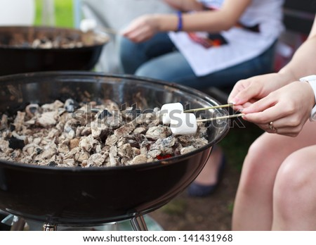 Roasting marshmallows on a sticks over the fire - stock photo