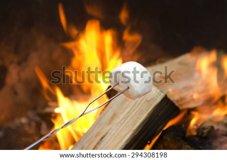 Roasting marshmallows over an open campfire for smores