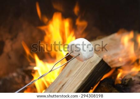 Roasting marshmallows over an open campfire for smores - stock photo