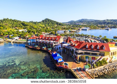 ROATAN ILAND HONDURAS JAN 28 2016: Coxen Hole, also called Roatan Town, is the largest city on the island of Roat�¡n, and the capital of the Bay Islands of Honduras, with a population of 5,070