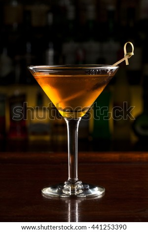 Rob Roy Cocktail in martini classic glass - stock photo