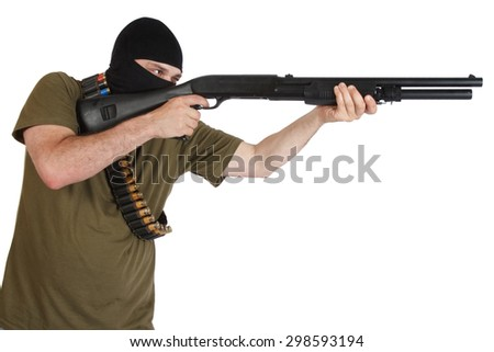 robber in black mask with shotgun isolated - stock photo