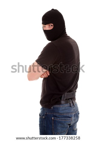 robber on the white background - stock photo