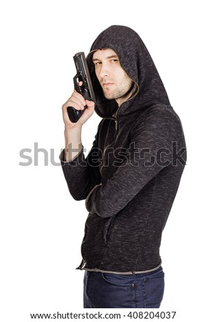 Robber with a gun. law, police, violence concept. Image on a white background.
