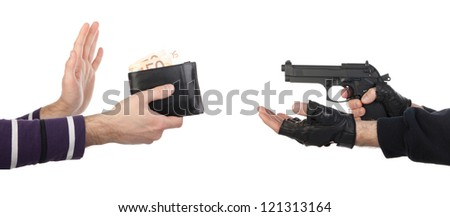 Robber with gun taking wallet from victim against a white background - stock photo