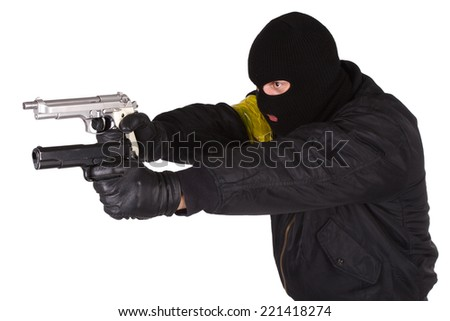 Robber with handgun isolated on white background