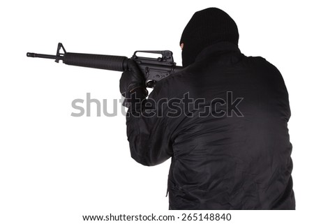 Robber with M16 rifle isolated on white background - stock photo