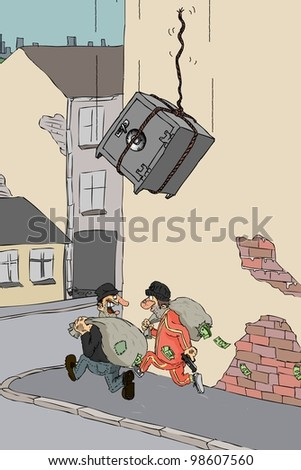 Robbers run with the money bags and box them fall on top - stock photo