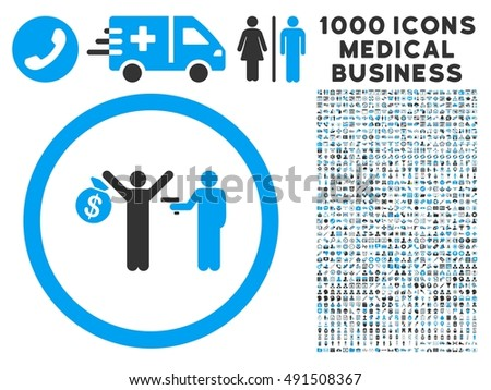 Robbery icon with 1000 medical business gray and blue glyph pictographs. Clipart style is flat bicolor symbols, white background.