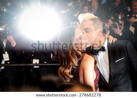 Robbie Williams and Ayda Field attend the 'Sea Of Trees' premiere during the 68th annual Cannes Film Festival on May 16, 2015 in Cannes, France. - stock photo