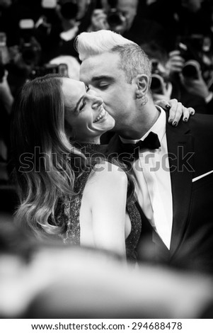 Robbie Williams and Ayda Field attend 'The Sea Of Trees' Premiere during the 68th annual Cannes Film Festival on May 17, 2015 in Cannes, France. - stock photo