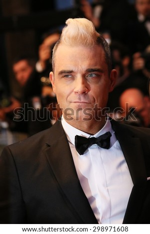 Robbie Williams attends the premiere of 'The Sea Of Trees' during the 68th annual Cannes Film Festival on May 16, 2015 in Cannes, France. - stock photo