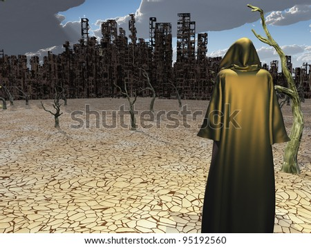 Robed Figure Before Destroyed City - stock photo