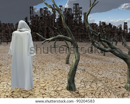 Robed Figure Before Detroyed City - stock photo