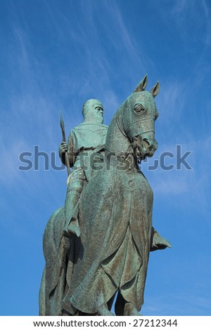 Robert Bruce Monument near Stirling in Scotland close to the site of his historic and much celebrated military triumph at the Battle of Bannockburn in 1314.