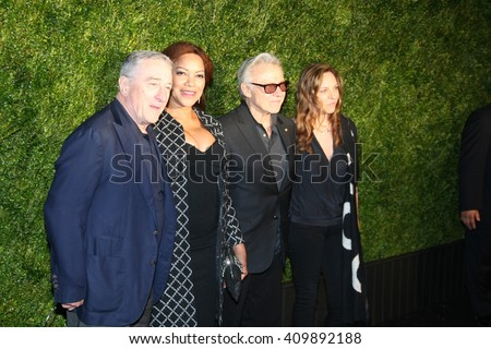 Robert De Niro, Grace Hightower, Harvey Keitel and Daphna Kastner attend the 11th Annual Chanel Tribeca Film Festival Artists Dinner at Balthazar on April 18, 2016 in New York City.