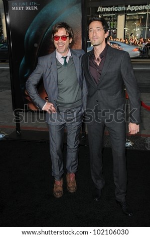 "Robert Downey Jr. and Adrien Brody at the ""Splice"" Los Angeles Premiere, Chinese Theatre, Hollywood, CA. 06-02-10"